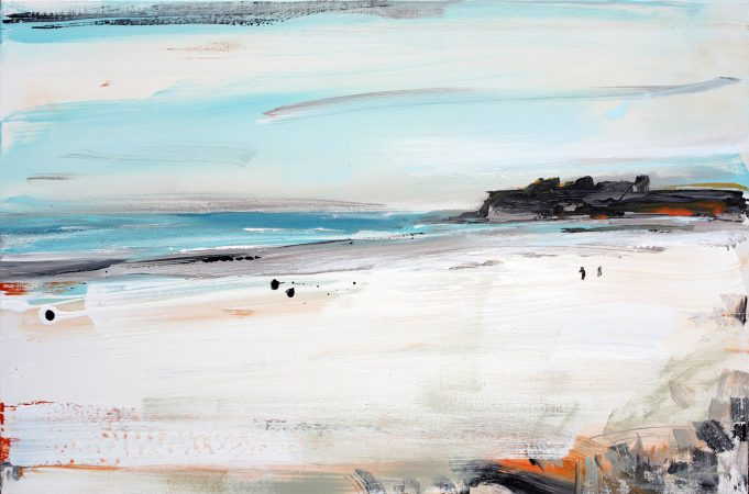Two People on the Beach at Rarawa painting Christian Nicolson