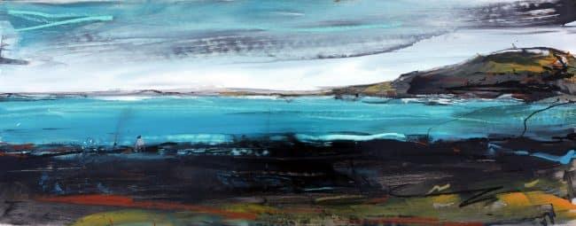 Man Fishes at Shipwreck Bay painting Christian Nicolson